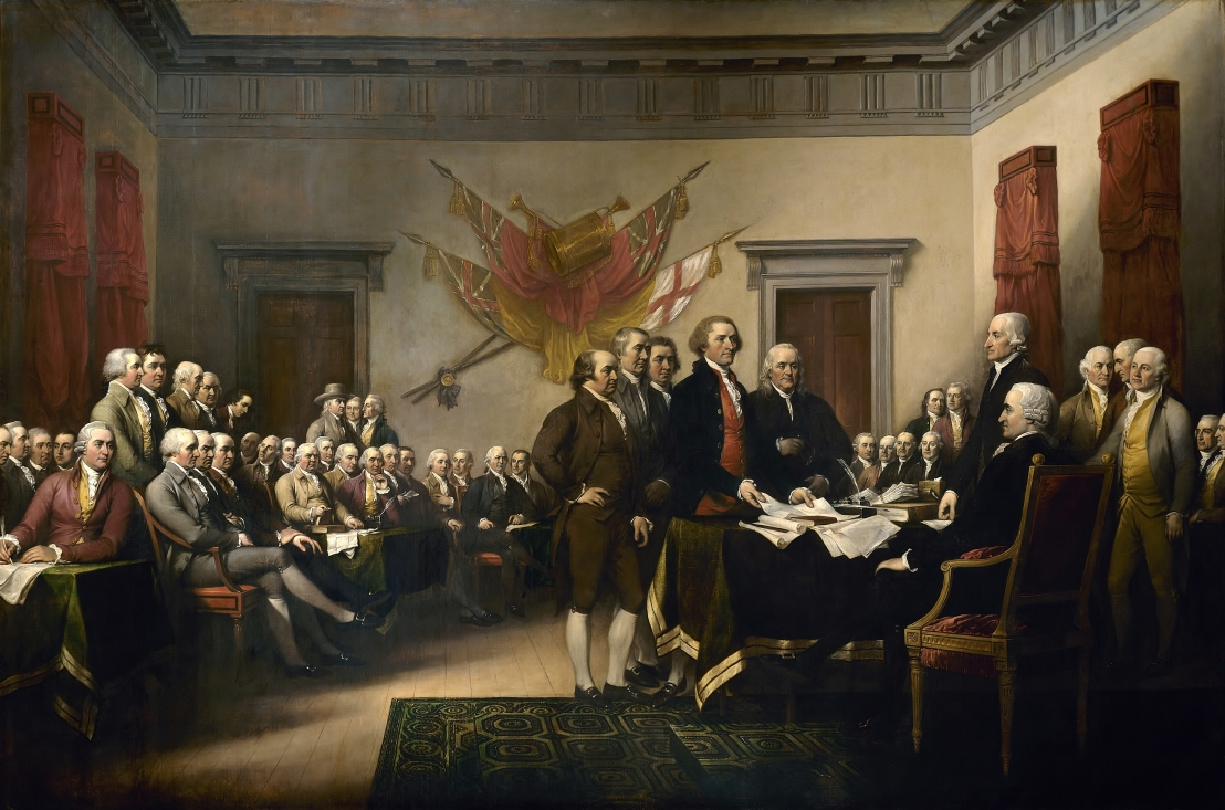 The Founding Fathers presenting a draft of the Declaration of Independence.