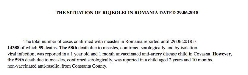 The National Center for Communicable Disease Control and Control in Romania is now reporting 59 measles deaths.