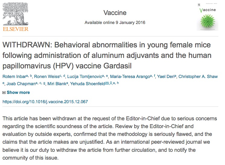 This paper on aluminum adjuvants and the HPV vaccine was withdrawn by the journal Vaccine.