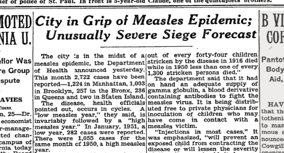 No one wants to return to the days when reports of measles epidemics made the front page of the New York Times.