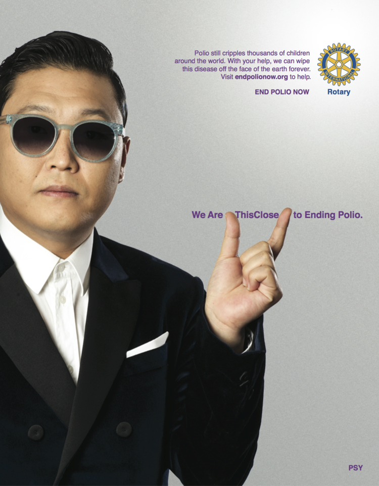 Psy helping get the word out that we are close to ending polio.