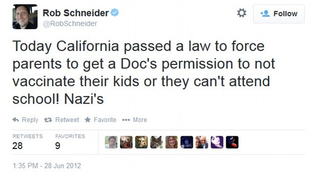 Rob Schneider calling California lawmakers Nazis after they passed a vaccine law that didn't even involve mandates to be vaccinated...