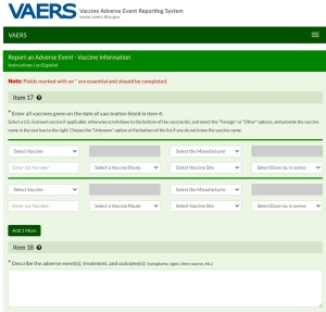Vaccine adverse events can be reported to VAERS online or using a downloadable form.