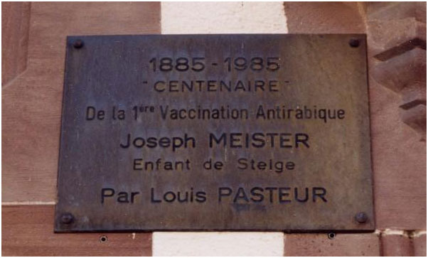 A plaque honors Joseph Meister and Louis Pasteur in the Alsace region of France.