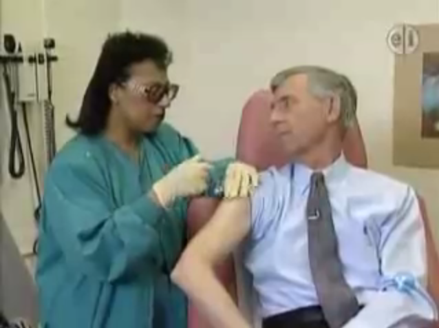 Mister Rogers gets a flu shot.