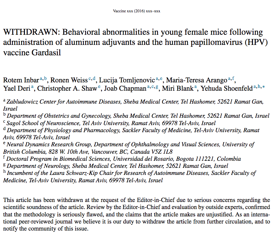 Shoenfeld's article in Vaccine about behavioral problems after HPV vaccination was withdrawn because of serious concerns regarding the scientific soundness of the article.