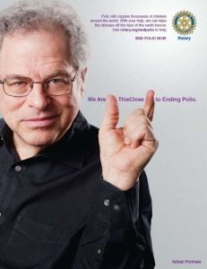 Itzhak Perlman, a polio survivor, now works to end polio.