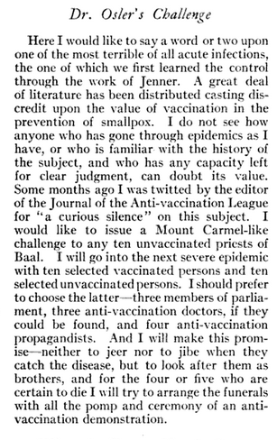 Dr. William Osler's vaccine challenge in his 1911 essay Man's Redemption of Man.