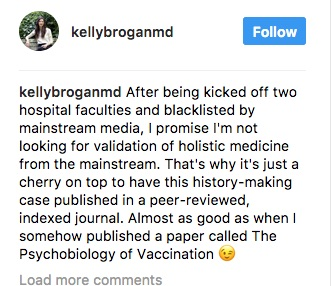 Kelly Brogan didn't make history in getting a case report published in a low impact journal who's editorial board includes a Reiki Master, chiropractors, and naturopaths.