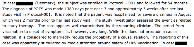 "This case of a subject with POTS was reported as being ""well characterized"" by the EMA, even though it likely wasn't caused by her Gardasil shots."