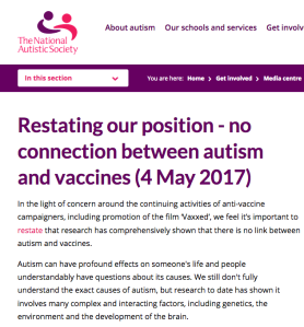 All of the organizations that help autistic people agree that there is no association between vaccines and autism.