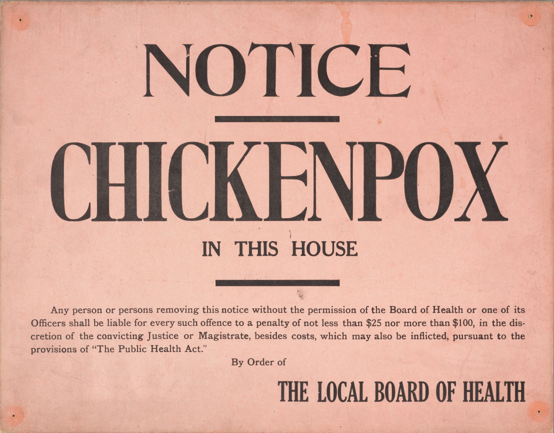 Chickenpox quarantine sign