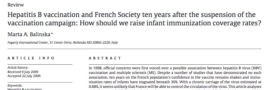 How many infants got hepatitis B in France because of low levels of vaccination after they blamed the vaccine for causing MS?