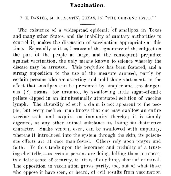 "In 1901, the editor of The Texas Medical Journal discusses the ""prejudice against vaccination"" in Texas at the time of a widespread smallpox epidemic."