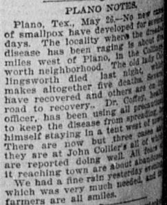 In May 1895, a smallpox outbreak hit west Plano.