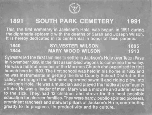 The South Park Cemetary was begun in 1891 during a diphtheria epidemic.