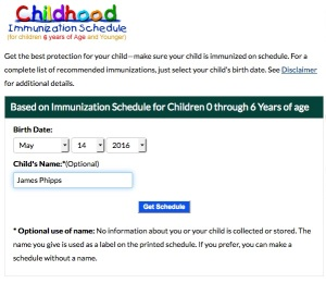 Calculate which vaccine-preventable diseases your child will be protected from when he gets vaccinated.