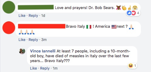 People are dying of measles in Italy and groups like Corvela are pushing anti-vaccine propaganda to further scare folks away from vaccinating and protecting their bambini.