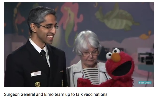 A little distraction helped Elmo get his shot.