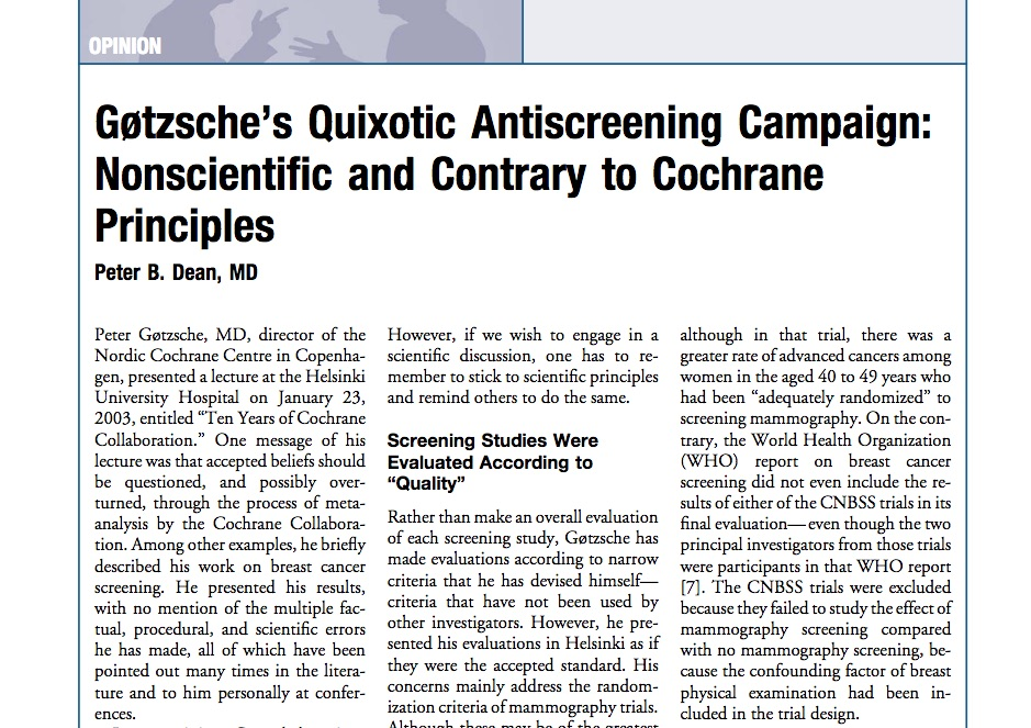 Did Peter Gøtzsche allow a bias against screening for cancer harm the Cochrane Collaboration?