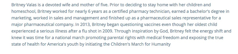The Children's March for Humanity implied that vaccines are the cause for all childhood chronic diseases.