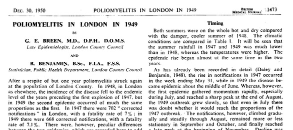During outbreaks of paralytic polio in London in the late 1940s, fewer than 10% were related to recent injections.