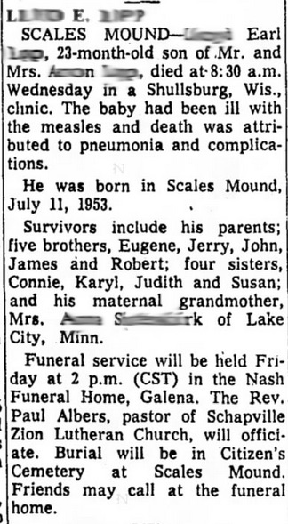 This toddler died of measles in 1955.