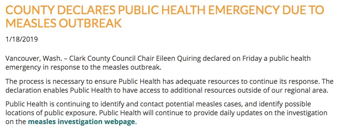 After 19 cases and an exposure at the Portland Trail Blazers game, Clark County has declared the measles outbreak to be a public health emergency.