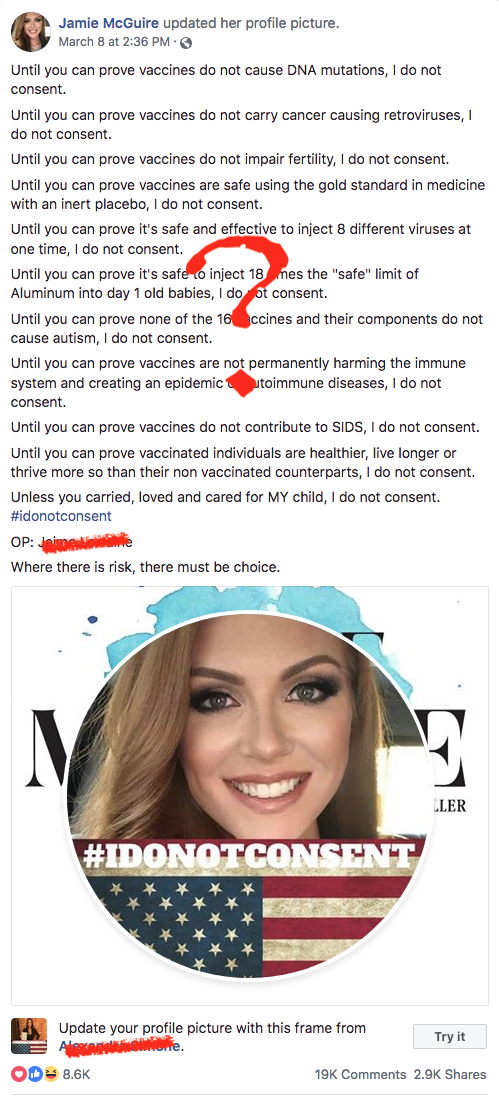 Celebrity anti vaccine groups