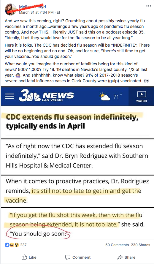 It's not too late to get a flu shot! That part is true.