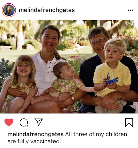All three of Bill and Melinda Gates' children are fully vaccinated.