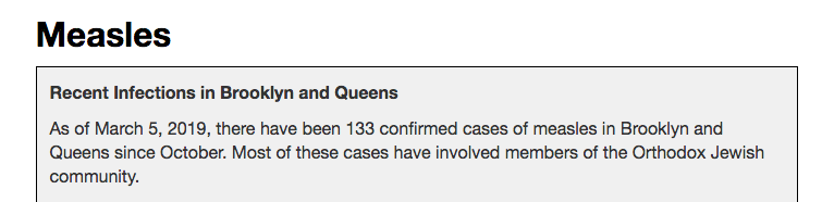 There were 133 measles cases in Brooklyn in early March.